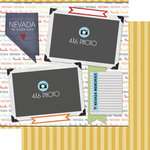 Scrapbook Customs - Travel Photo Journaling Collection - 12 x 12 Double Sided Paper - Nevada - Quick Page Journal