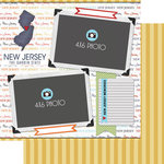 Scrapbook Customs - Travel Photo Journaling Collection - 12 x 12 Double Sided Paper - New Jersey - Quick Page Journal