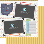 Scrapbook Customs - Travel Photo Journaling Collection - 12 x 12 Double Sided Paper - Ohio - Quick Page Journal