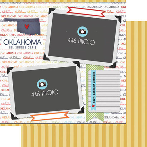Scrapbook Customs - Travel Photo Journaling Collection - 12 x 12 Double Sided Paper - Oklahoma - Quick Page Journal