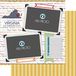 Scrapbook Customs - Travel Photo Journaling Collection - 12 x 12 Double Sided Paper - Virginia - Quick Page Journal