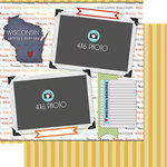 Scrapbook Customs - Travel Photo Journaling Collection - 12 x 12 Double Sided Paper - Wisconsin - Quick Page Journal