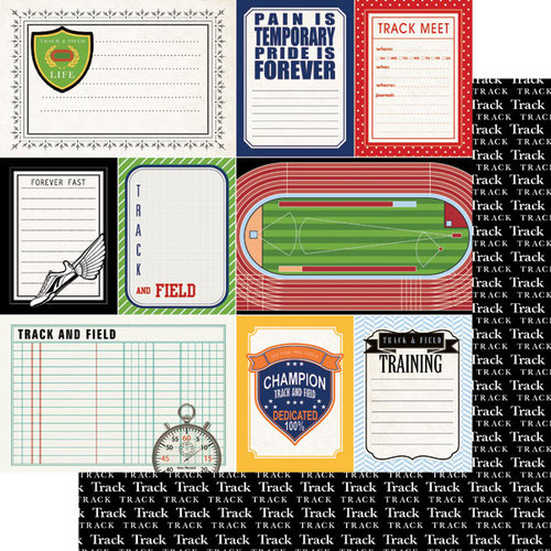 Scrapbook Customs - Sports Pride Collection - 12 x 12 Double Sided Paper - Track and Field - Journal