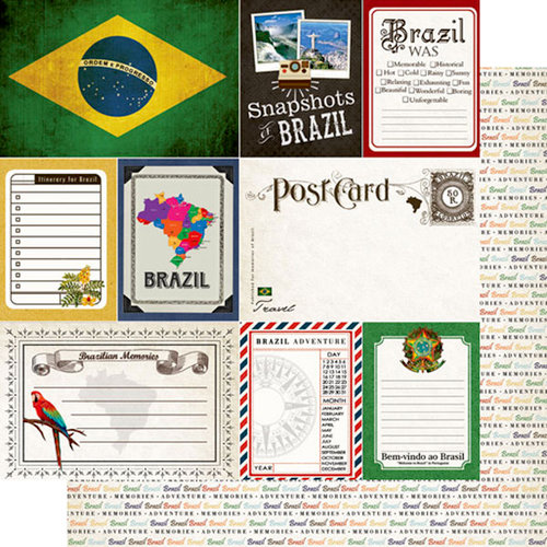Scrapbook Customs - Travel Photo Journaling Collection - 12 x 12 Double Sided Paper - Brazil