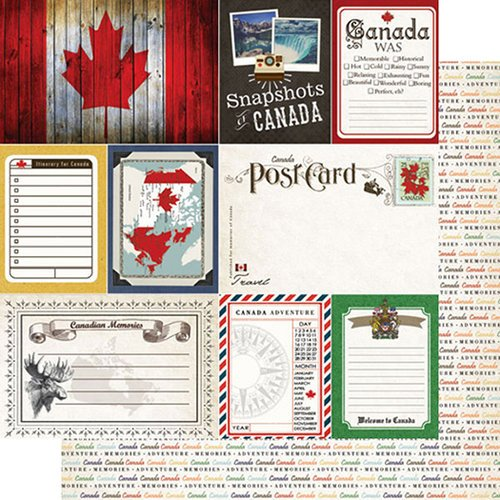 Scrapbook Customs - Travel Photo Journaling Collection - 12 x 12 Double Sided Paper - Canada