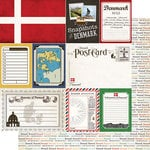 Scrapbook Customs - Travel Photo Journaling Collection - 12 x 12 Double Sided Paper - Denmark