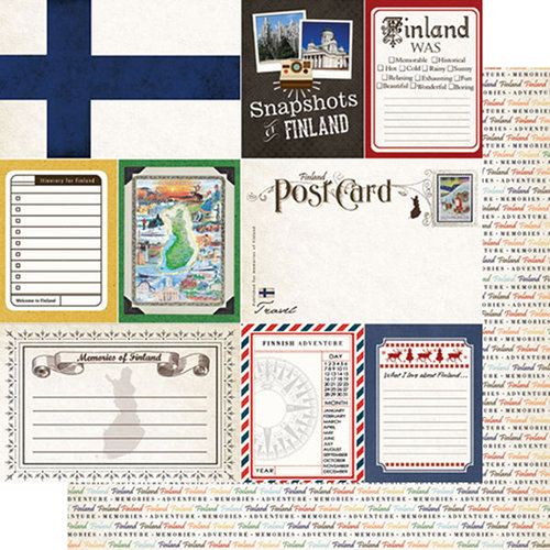 Scrapbook Customs - Travel Photo Journaling Collection - 12 x 12 Double Sided Paper - Finland