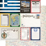 Scrapbook Customs - Travel Photo Journaling Collection - 12 x 12 Double Sided Paper - Greece