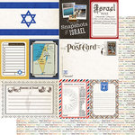 Scrapbook Customs - Travel Photo Journaling Collection - 12 x 12 Double Sided Paper - Israel