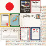 Scrapbook Customs - Travel Photo Journaling Collection - 12 x 12 Double Sided Paper - Japan