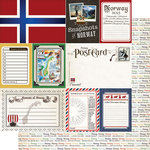 Scrapbook Customs - Travel Photo Journaling Collection - 12 x 12 Double Sided Paper - Norway