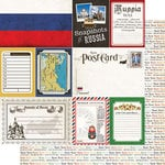 Scrapbook Customs - Travel Photo Journaling Collection - 12 x 12 Double Sided Paper - Russia