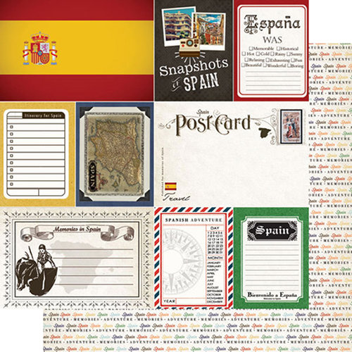 Scrapbook Customs - Travel Photo Journaling Collection - 12 x 12 Double Sided Paper - Spain