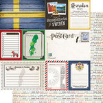 Scrapbook Customs - Travel Photo Journaling Collection - 12 x 12 Double Sided Paper - Sweden