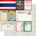 Scrapbook Customs - Travel Photo Journaling Collection - 12 x 12 Double Sided Paper - Thailand