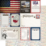 Scrapbook Customs - Travel Photo Journaling Collection - 12 x 12 Double Sided Paper - USA