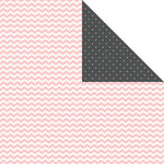 Scrapbook Customs - 12 x 12 Double Sided Paper - Mr and Mrs - Pink Chevron and Chalkboard Dots