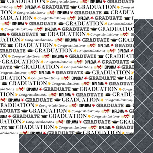Scrapbook Customs - 12 x 12 Double Sided Paper - Graduation Pride with Diamonds