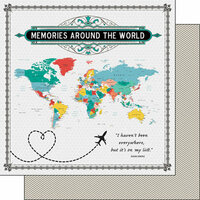 Scrapbook Customs - 12 x 12 Double Sided Paper - Memories Around The World