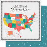Scrapbook Customs - 12 x 12 Double Sided Paper - USA Memories Map