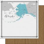 Scrapbook Customs - 12 x 12 Double Sided Paper - Alaska Memories Map
