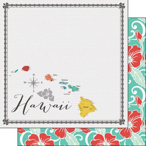 Scrapbook Customs - 12 x 12 Double Sided Paper - Hawaii Memories Map