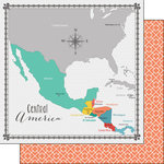 Scrapbook Customs - 12 x 12 Double Sided Paper - Central America Memories Map