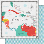 Scrapbook Customs - 12 x 12 Double Sided Paper - Caribbean Sea Memories Map