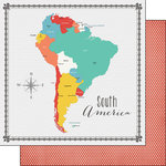 Scrapbook Customs - 12 x 12 Double Sided Paper - South America Memories Map