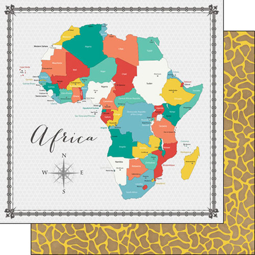 Scrapbook Customs - 12 x 12 Double Sided Paper - Africa Memories Map