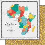 Scrapbook Customs - 12 x 12 Double Sided Paper - Africa Memories Map