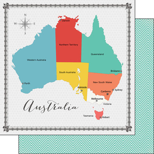 Scrapbook Customs - 12 x 12 Double Sided Paper - Australia Memories Map