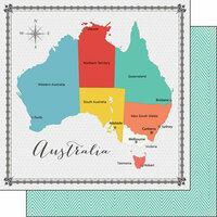 Scrapbook Customs - 12 x 12 Double Sided Paper - Australia Memories Map