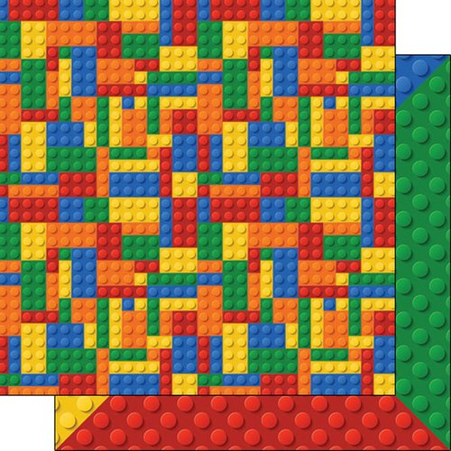 Scrapbook Customs - 12 x 12 Double Sided Paper - Multi-Color Building Blocks