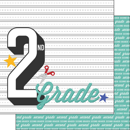 Scrapbook Customs - 12 x 12 Double Sided Paper - 2nd Grade Year