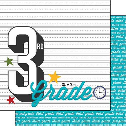 Scrapbook Customs - 12 x 12 Double Sided Paper - 3rd Grade Year