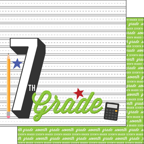 Scrapbook Customs - 12 x 12 Double Sided Paper - 7th Grade Year