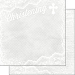 Scrapbook Customs - 12 x 12 Double Sided Paper - Christening Lace
