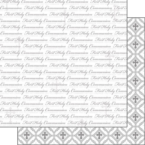 Scrapbook Customs - 12 x 12 Double Sided Paper - First Holy Communion Words