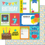Scrapbook Customs - Happy Birthday Collection - 12 x 12 Double Sided Paper - 7th Birthday