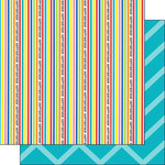 Scrapbook Customs - Happy Birthday Collection - 12 x 12 Double Sided Paper - Stripe