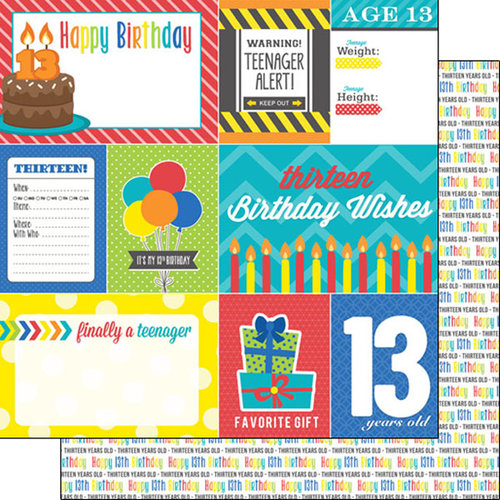 Scrapbook Customs - Happy Birthday Collection - 12 x 12 Double Sided Paper - 13th Birthday