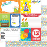 Scrapbook Customs - Happy Birthday Collection - 12 x 12 Double Sided Paper - 15th Birthday