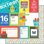 Scrapbook Customs - Happy Birthday Collection - 12 x 12 Double Sided Paper - 16th Birthday