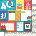Scrapbook Customs - Happy Birthday Collection - 12 x 12 Double Sided Paper - 40th Birthday