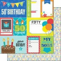 Scrapbook Customs - Happy Birthday Collection - 12 x 12 Double Sided Paper - 50th Birthday