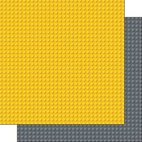 Scrapbook Customs - Building Blocks Collection - 12 x 12 Double Sided Paper - Yellow and Gray
