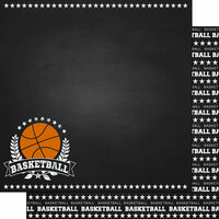 Scrapbook Customs - Sports Collection - 12 x 12 Double Sided Paper - Chalkboard Sports - Basketball