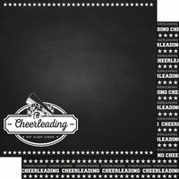 Scrapbook Customs - Sports Collection - 12 x 12 Double Sided Paper - Chalkboard Sports - Cheerleading