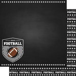 Scrapbook Customs - Sports Collection - 12 x 12 Double Sided Paper - Chalkboard Sports - Football